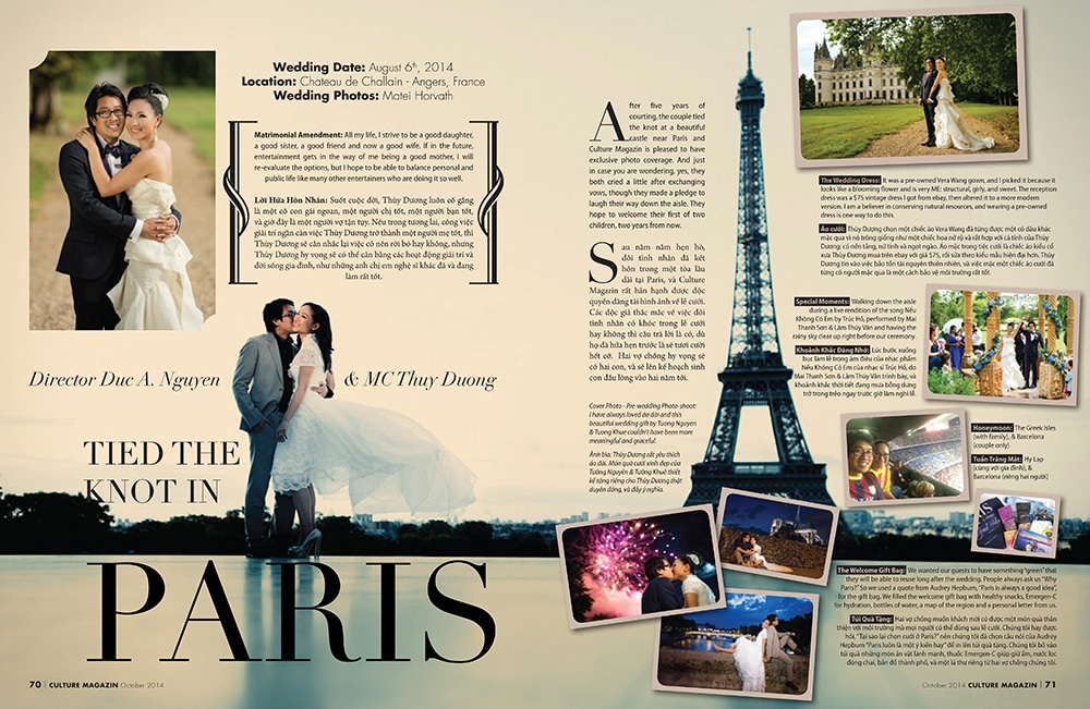 Lisa and Duc's french wedding featured in VietSun Culture Magazine