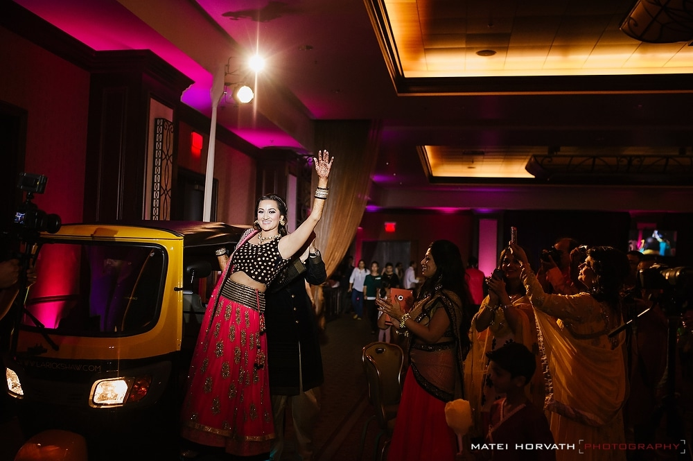 Spectacular entrance of bride and groom during Sangeet