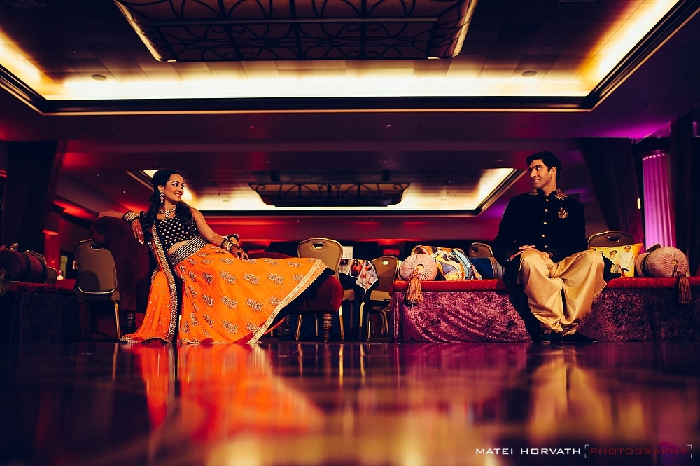 Portrait of the bride and groom during Sangeet at Huntington Beach Hyatt Regency