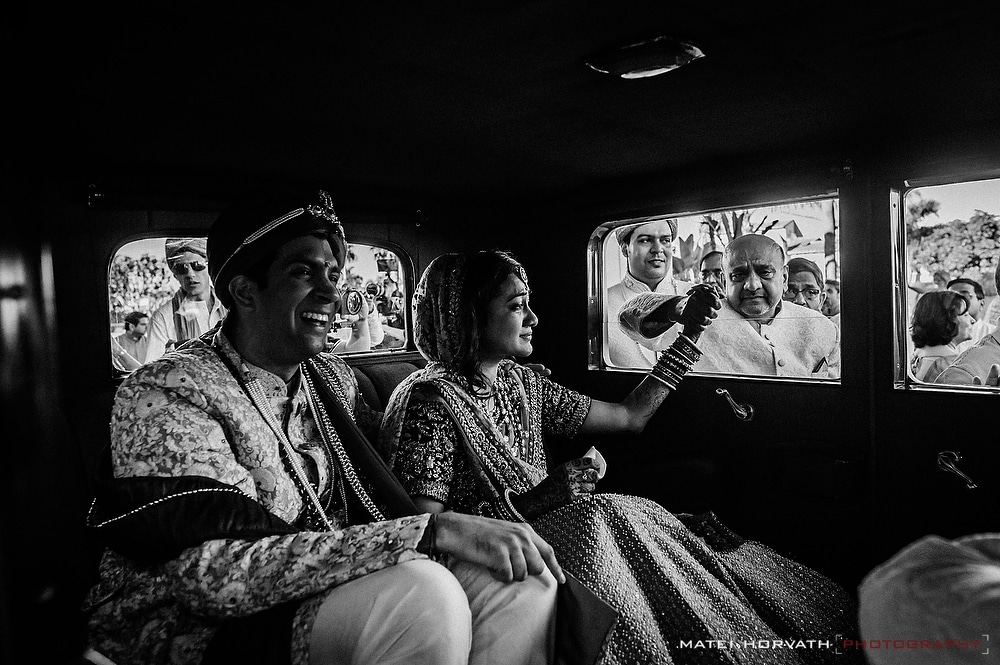 The Viday Ceremony- the bride and groom alone in the car after emotional farewell